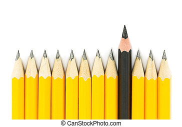 Yellow pencils with on black pencil on white background