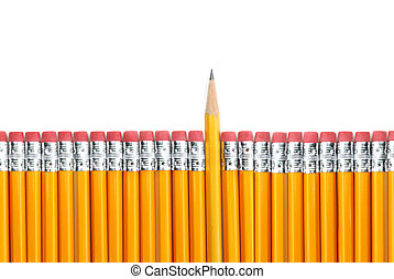 yellow pencils in a row with one sharp tip