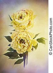 Yellow Peonies - Digital painting of delicate beautiful ...