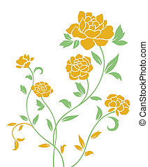 yellow peony pattern - drawing of yellow flower in a white...