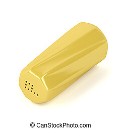 Yellow pepper shaker on white background