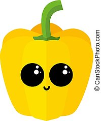 Yellow pepper with eyes, illustration, vector on white background