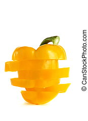 Yellow peppers on a white background.