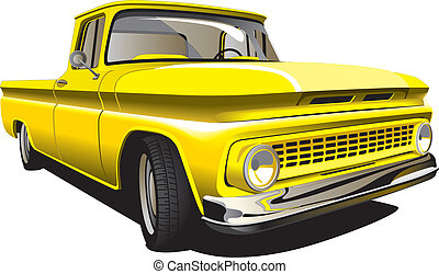Detailed vectorial image of Old-fashioned yellow Pickup isolated on white background