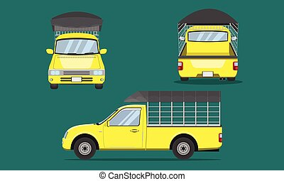 yellow pickup truck with car steel grating plastic top cover front side back view transport vector illustration eps10