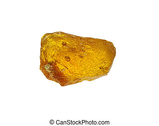 Yellow piece of rosin isolated on a white background
