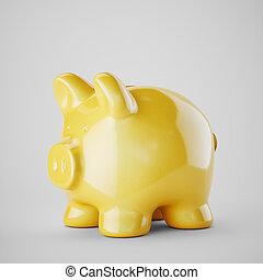 Yellow piggy bank isolated