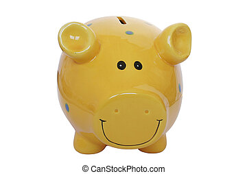Yellow Piggy Bank - Isolated yellow piggy bank