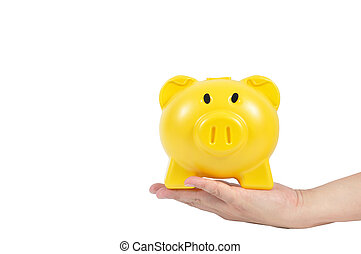Yellow piggy bank on man hand isolated on white background, clip