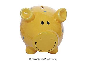 Yellow Piggy Bank - Isolated yellow piggy bank