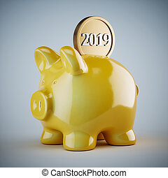 Yellow piggy bank with golden coin 2019