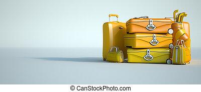 Yellow pile of luggage