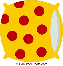 Yellow pillow with red dots icon isolated