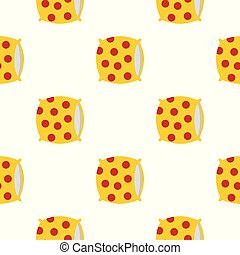 Yellow pillow with red dots pattern seamless