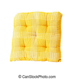 Yellow square pillow isolated included clipping path