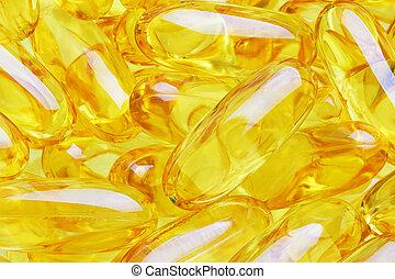 Yellow pills close up