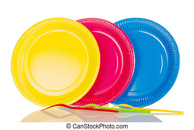Yellow, pink, blue plastic plates isolated on white