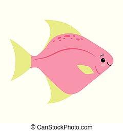 yellow pink fish animals sea vector illustration