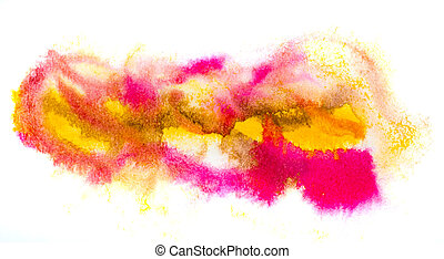 yellow pink macro spot blotch texture isolated on a white background