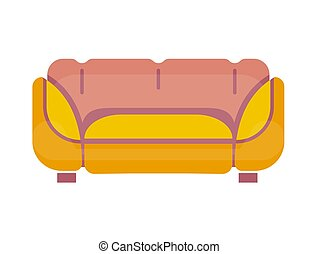 Yellow-pink sofa isolated on white vector flat illustration...
