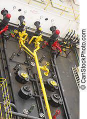 Yellow Pipes on Black Barge