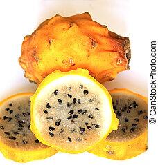 Yellow Pitahaya, an exotic fruit found in Cotacachi, Ecuador
