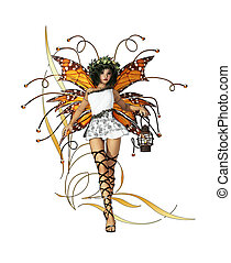 Yellow Pixie - A graceful fairy with wings, wreath and...