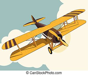 Yellow plane flying over sky with clouds in vintage color stylization.