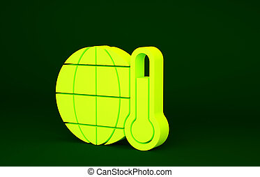 Yellow Planet earth melting to global warming icon isolated on green background. Ecological problems and solutions - thermometer. Minimalism concept. 3d illustration 3D render