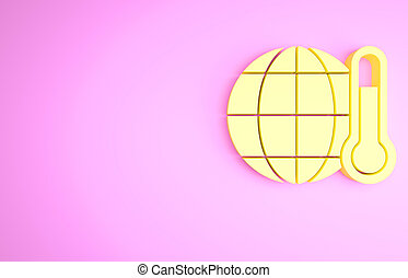 Yellow Planet earth melting to global warming icon isolated on pink background. Ecological problems and solutions - thermometer. Minimalism concept. 3d illustration 3D render