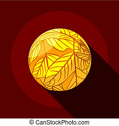 Yellow planet icon, flat style