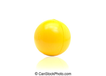 Yellow plastic ball isolated on white background