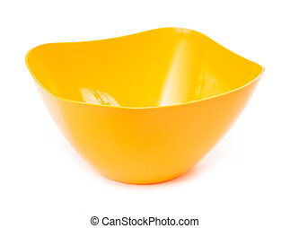 Yellow plastic bowl isolated on white background