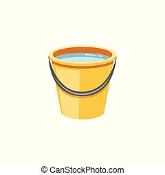 Yellow plastic bucket with water flat cartoon vector illustration icon isolated.