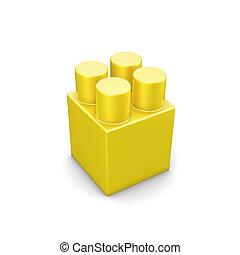 Yellow plastic building blocks