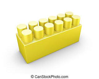 Yellow plastic construction element