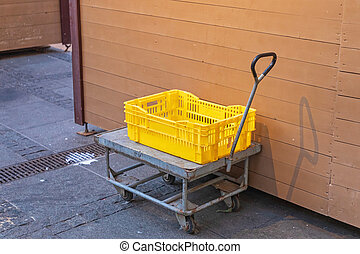 Cart Dolly - Yellow Plastic Crate at Cart Dolly Transport