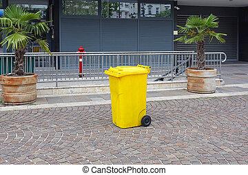 Yellow Plastic Garbage Bin