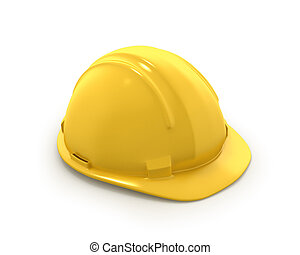 Yellow plastic helmet or hard hat isolated on white ...
