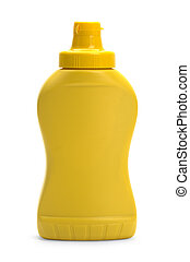 Yellow Plastic Mustard Bottle With Copy Space Isolated on White Background.
