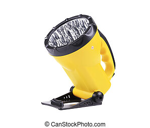 Yellow plastic pocket handle flashlight.