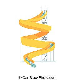 Yellow plastic slide, equipment for an aquapark cartoon vector Illustration