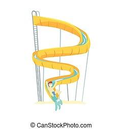 Yellow plastic slide, equipment for water park cartoon vector Illustration