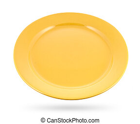 yellow plate isolated on white background