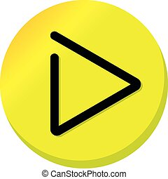 Yellow Play button sign - play video icon