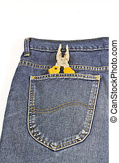 yellow pliers in pocket jeans on white