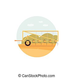 Yellow plough on crop field - farm agriculture machine ...