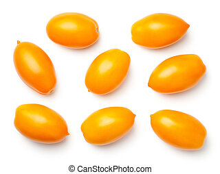 Yellow Plum Tomatoes Isolated on White Background