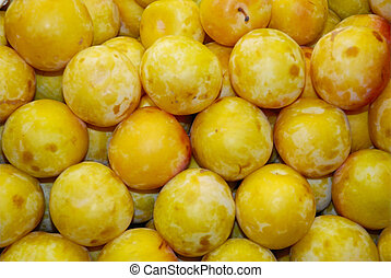 Yellow plums sold on a spanish market