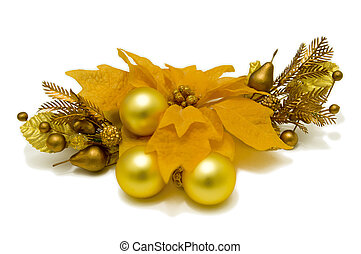 "Yellow Poinsettia Flower ""Christmas Star"". Christmas-tree decorations. Front view"